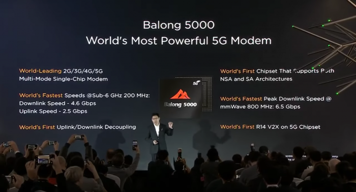 CEO Richard Yu erläutert das Balong 5000. (Bild: Huawei)