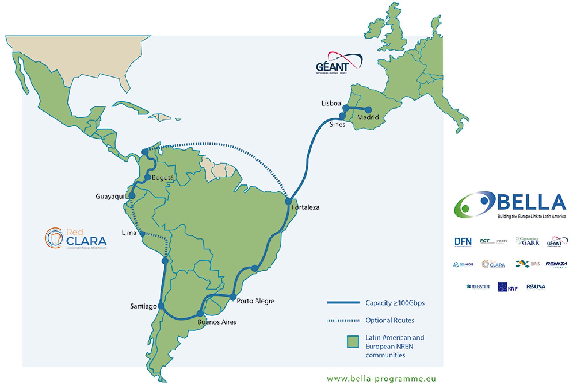 Ellalink: Seekabel wird zwischen Europa und Lateinamerika gebaut - Der Verlauf des neuen Seekabels