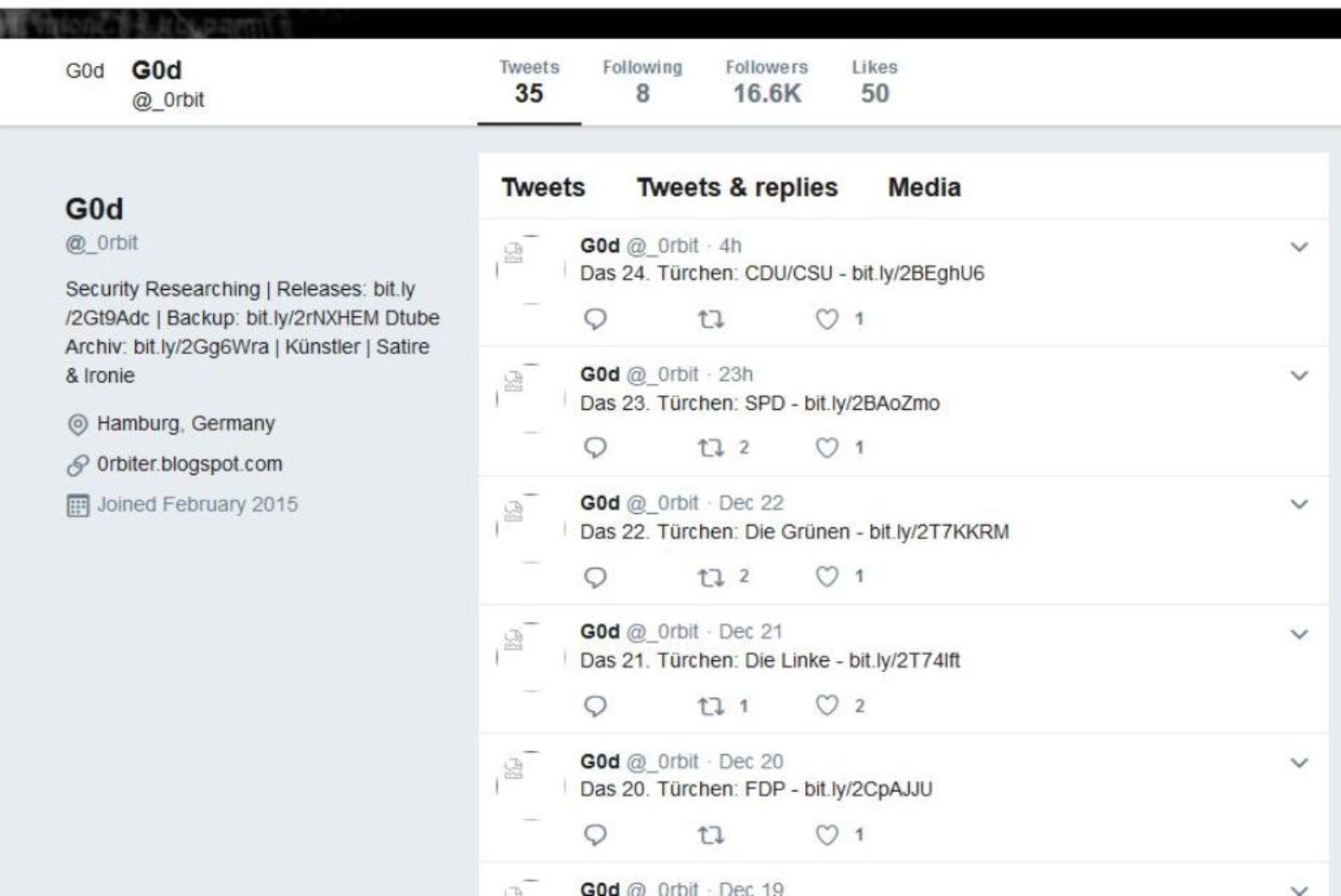 Datenleak: Ermittler nehmen Verdächtigen fest - Im Dezember 2018 wurden die gehackten Daten per Twitter auf dem Account _0rbit verlinkt. (Screenshot: Golem.de)