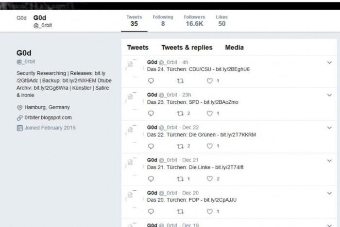 Im Dezember 2018 wurden die gehackten Daten per Twitter auf dem Account _0rbit verlinkt. (Screenshot: Golem.de)
