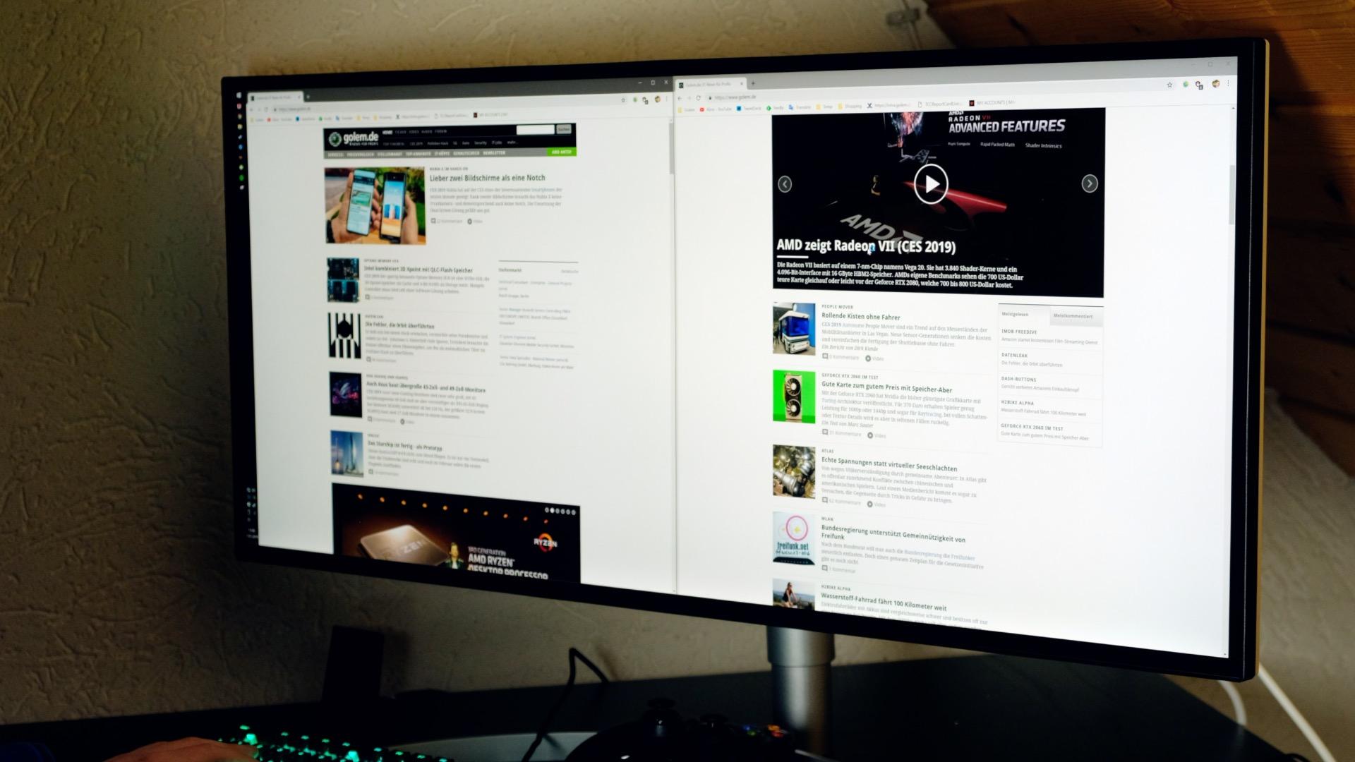 LG 34WK95U im Test: Suboptimaler 5K2K Ultrawide - Auf dem LG 34WK95U lassen sich bequem zwei Browser-Fenster anzeigen. (Bild: Michael Wieczorek/Golem.de)