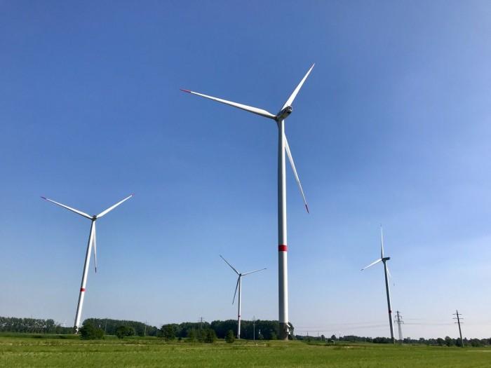 Das Windkraftwerk in Hamburg-Curslack (Bild: Monika Rößiger)