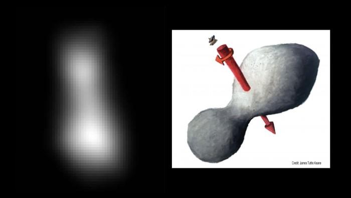 Kuiper-Objekt Ultima Thule: eine Montage aus zwei Bildern, die New Horizons geschickt hat; mögliches Aussehen und Drehachse (r). (Bild: Nasa/JHUAPL/SwRI/James Tuttle Keane)