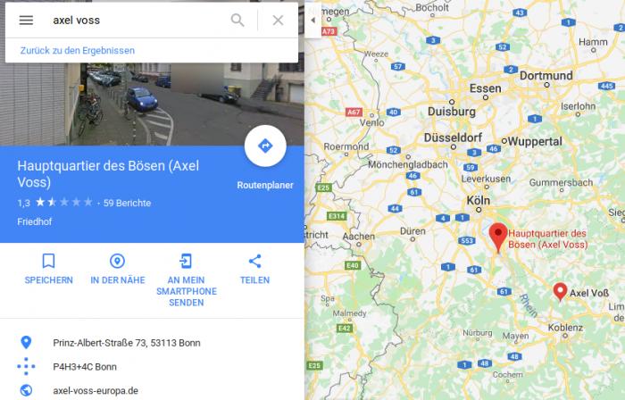 """Das Internet protestiert nicht nur auf der Straße: Wer auf Google Maps nach Axel Voss sucht, landete zumindest zeitweilig beim """"Hauptquartier des Bösen"""". (Google Maps/Screenshot: Golem.de)"""