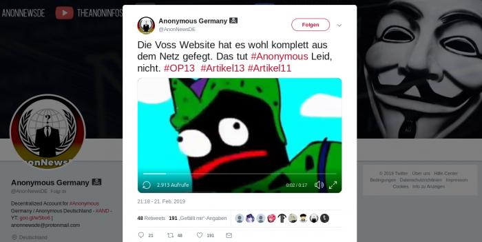 Tweet nach einem DDoS-Angriff auf die Website von Axel Voss (Twitter/Screenshot: Golem.de)