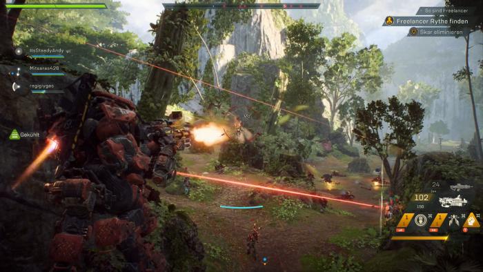 In einem Javelin vom Typ Colossus greifen wir die Soldaten des Dominion an. (Bild: EA/Screenshot: Golem.de)
