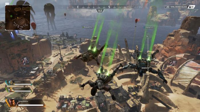Mit den beiden automatisch zugewiesenen Teamkameraden sausen wir in Richtung Landeplatz. (Bild: EA/Screenshot: Golem.de)