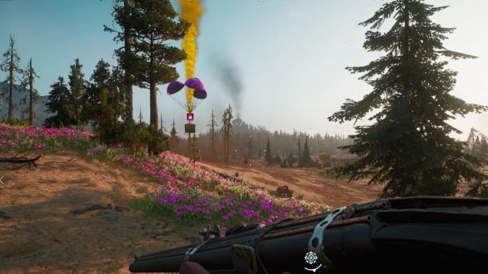Airdrops in malerischer Landschaft. (Bild: Ubisoft/Screenshot: Oliver Nickel/Golem.de)