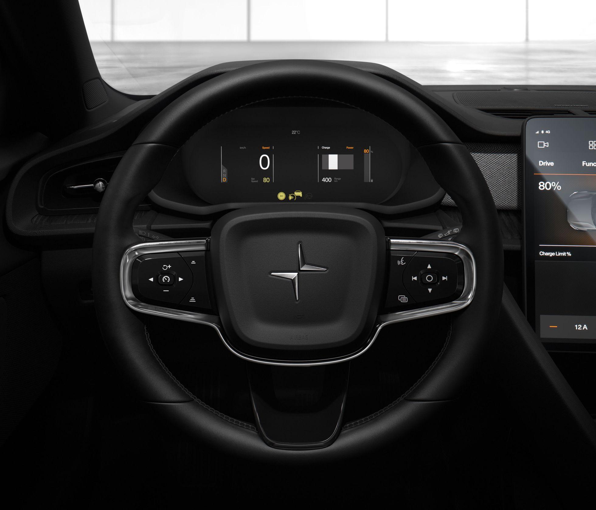 Polestar 2: Erster Elektro-Volvo kostet 40.000 Euro - Das Cockpit ist weniger spartanisch als das des Model 3. (Bild: Volvo)