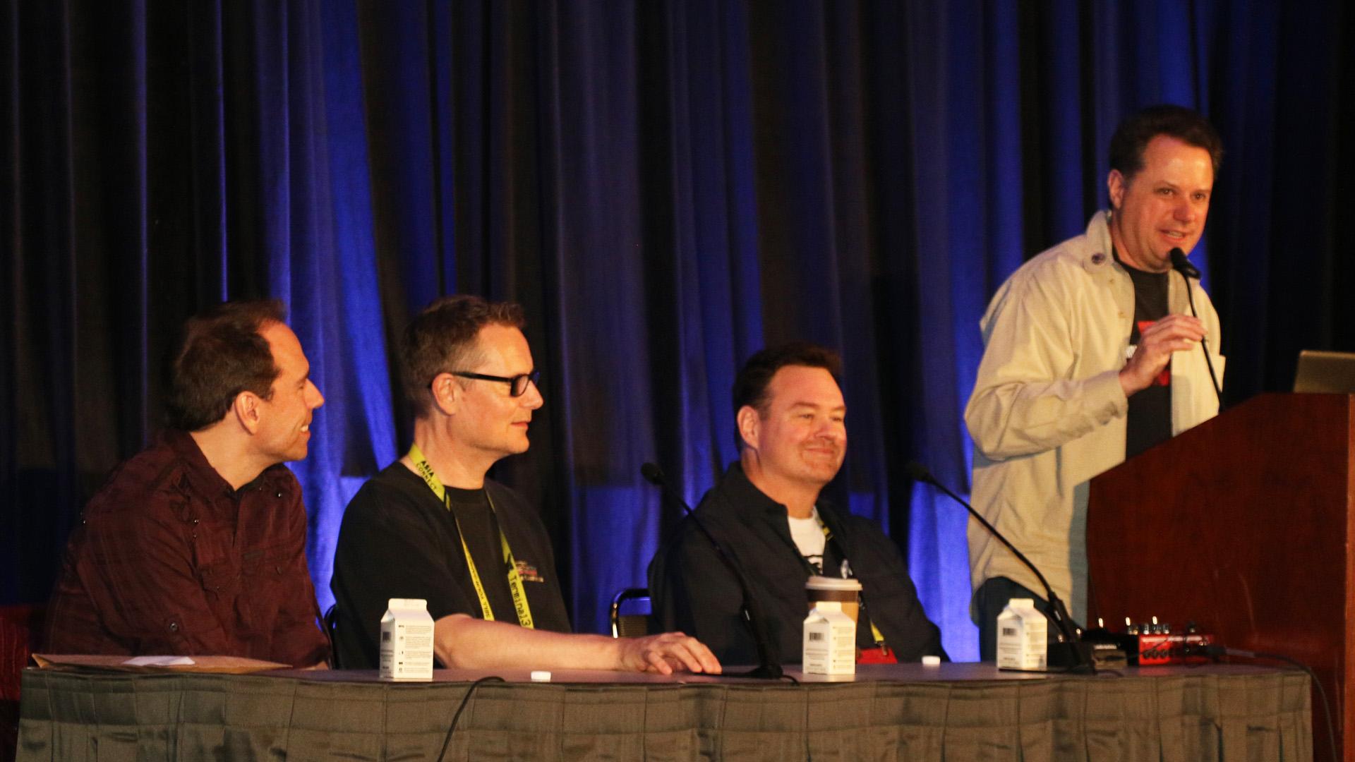 Westwood Studios: Command & Conquer rockt die GDC 2019 - Frank Klepacki, Steve Wetherill, Erik Yeo und Louis Castle auf der GDC 2019 (von links nach rechts). (Golem.de/P. Steinlechner)