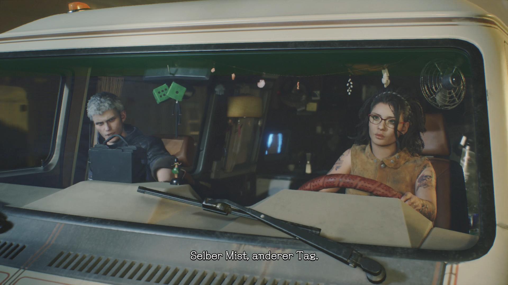 Devil May Cry 5 im Test: Höllische Action mit Schulnote B - Nero und Nico sind zusammen mit dem Van unterwegs - einer Art Hauptquartier der Helden. (Bild: Capcom/Screenshot: Golem.de)
