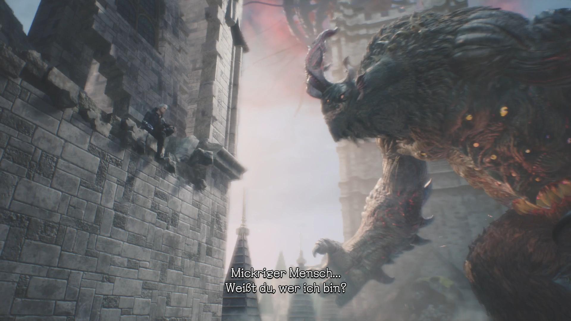 Devil May Cry 5 im Test: Höllische Action mit Schulnote B - Nero muss gegen dieses Riesenbiest namens Goliath antreten. (Bild: Capcom/Screenshot: Golem.de)