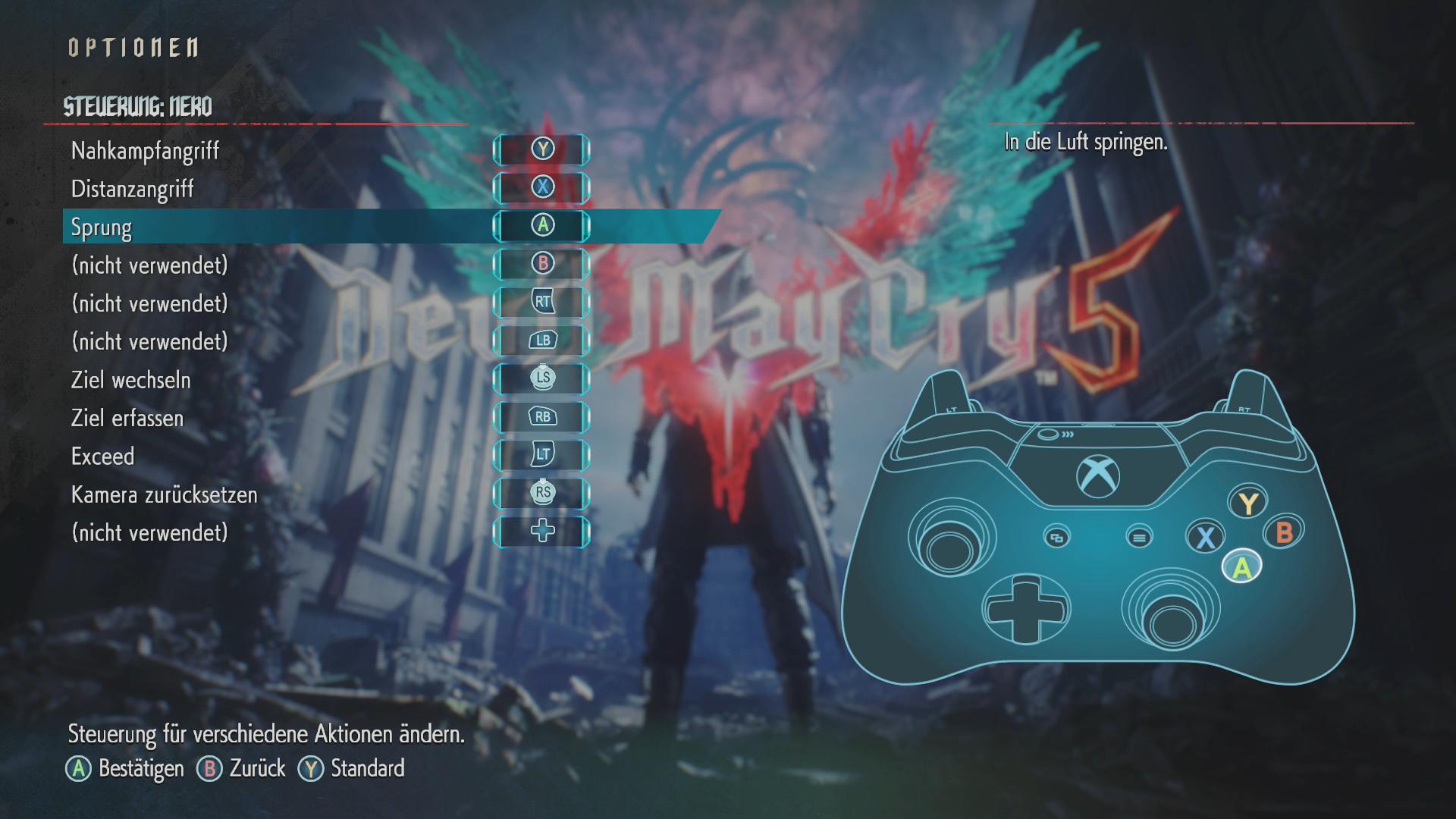 Devil May Cry 5 im Test: Höllische Action mit Schulnote B - Die Steuerung per Gamepad ist durchdacht, aber komplex. (Bild: Capcom/Screenshot: Golem.de)