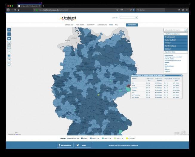 Eine Messung auf der Karte dargestellt (Bild: Bundesnetzagentur)