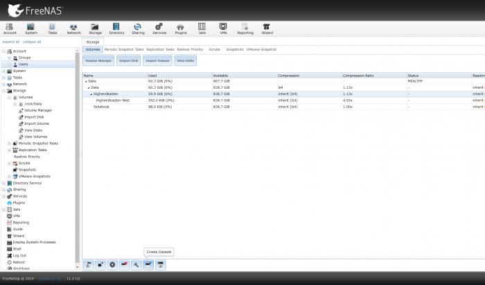 """Ein Druck auf """"Create Dataset""""... (Screenshot: Oliver Nickel/Golem.de)"""