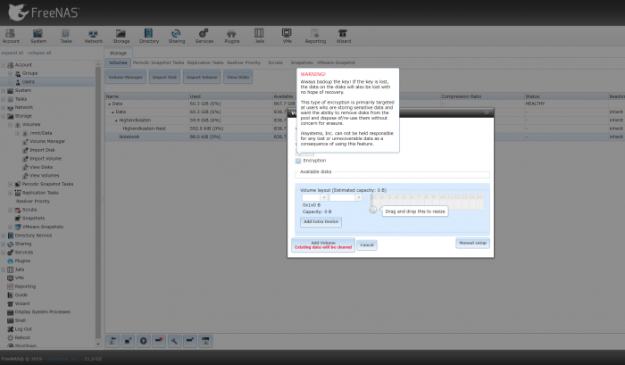 Im Volume Manager wählen wir Platten aus, die zu einem Volume zusammengeführt werden. (Screenshot: Oliver Nickel/Golem.de)