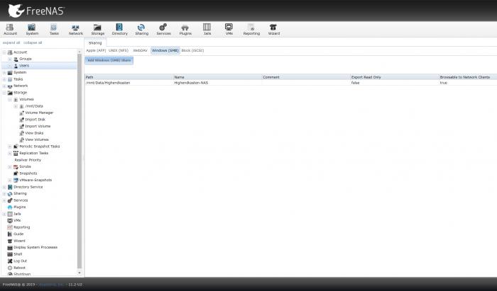 Es werden Shares für Unix, MacOS oder Windows separat erstellt. (Screenshot: Oliver Nickel/Golem.de)
