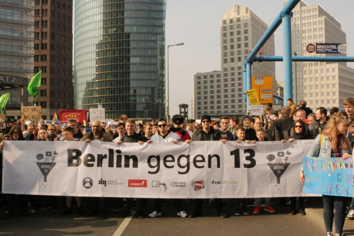 Das Bündnis Berlin gegen 13 rief zur Demonstration gegen Uploadfilter am 23. März 2019 auf. (Foto: Friedhelm Greis/Golem.de)