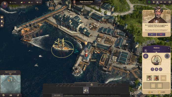 Unser Segelschiff Walross in einem verbündeten Hafen (Bild: Ubisoft/Screenshot: Golem.de)