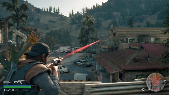 Der rote Lichtstrahl stammt von einem feindlichen Sniper. (Bild: Sony/Screenshot: Golem.de)
