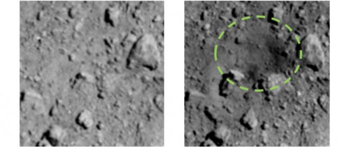 Aufnahmen der Sonde Hayabusa 2 zeigen einen neuen Krater nach dem Einschlag.