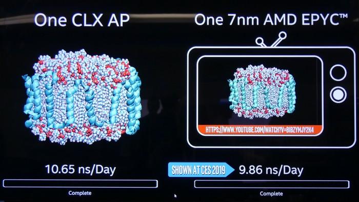CLX-AP mit 48 Kernen gegen Vorserien-Epyc mit 64 Kernen (Bild: Golem.de)