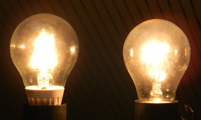 """Links eine LED-Filament-Lampe (auch """"Fadenlampe"""" genannt), rechts eine herkömmliche Glühlampe<br> (Foto: Wolfgang Messer)"""