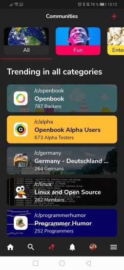 Openbook ist nach Gruppen, sogenannten Communities, geordnet, die zahlreiche Themen abdecken. (Screenshot: Golem.de)