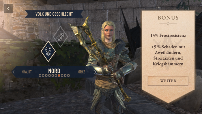 Wie bei jedem TES erstellen wir einen Charakter. (Bild: Bethesda, Screenshot: Golem.de)