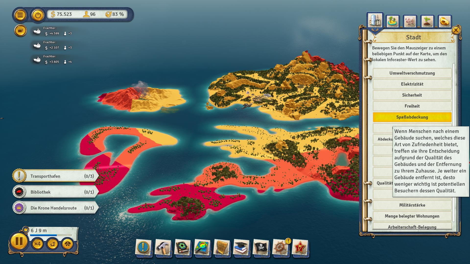Tropico 6 im Test: Wir basteln eine Bananenrepublik - Mit farblichen Overlays analysieren wir die Lage auf unseren Inseln. (Bild: Kalypso Media/Screenshot: Golem.de)