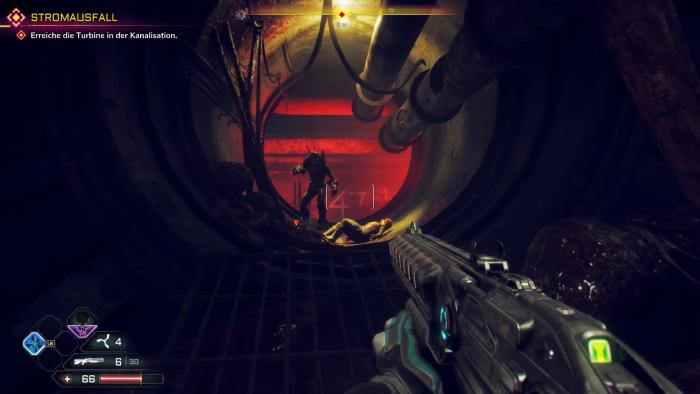 In der Kanalisation kämpfen wir gegen merkwürdige Mutanten - Rage 2 ist nicht immer bunt und schrill. (Bild: Bethesda/Screenshot: Golem.de)