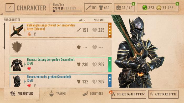 Meine Nord-Kämpferin mit Ebenerz-Rüstung und brennender Vulkanglas-Klinge auf Level #39 (Rechteinhaber: Bethesda/Screenshot: Golem.de)