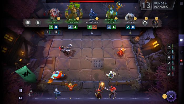 Dota Underlords: Auf der Heldenleiste oben bieten sich Krieger für unsere Armee an. (Bild: Valve/Screenshot: Golem.de)