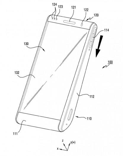 Auf den ersten Blick sieht das Smartphone in Samsungs Patentschrift nicht anders aus als herkömmliche Geräte. (Bild: Samsung/Screenshot: Golem.de)