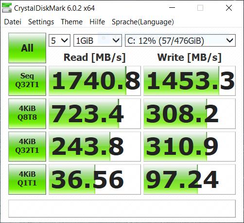 HP Envy 13 x360 im Test: Ryzen-Convertible leuchtet hell und hässlich - SSD-Geschwindigkeit des HP Envy 13 x360 (Bild: Marc Sauter/Golem.de)