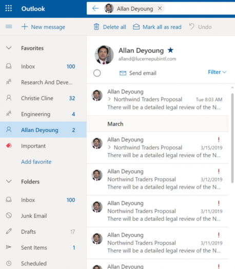 Die neue Version von Outlook for Web (Bild: Microsoft)
