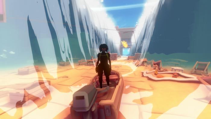 Eine mysteriöse Kraft lässt Kay wie Moses durch ein Tal aus Wasser gehen. (Bild: Jo-Mei Games/Screenshot: Golem.de)