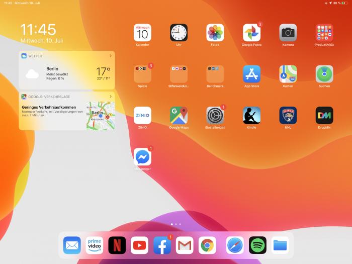 Neu unter iPad OS sind die Widgets auf der Startseite festpinnbar. (Screenshot: Golem.de)
