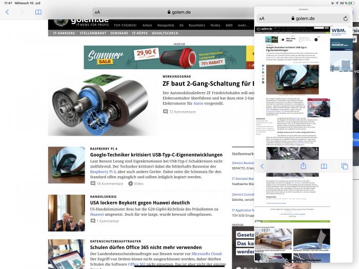 Apps können wir auch als Slide Over verwenden. Die einzelnen Anwendungen lassen sich praktischerweise durchschalten. (Screenshot: Golem.de)