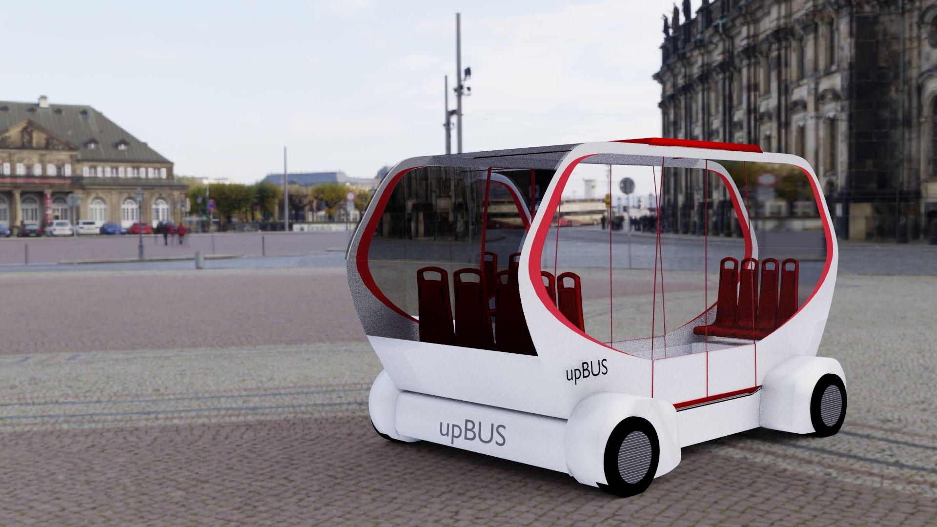 Upbus: Ein E-Bus, der fährt und schwebt - Der Upbus soll das urbane Verkehrsmittel der Zukunft sein. (Bild: RWTH)