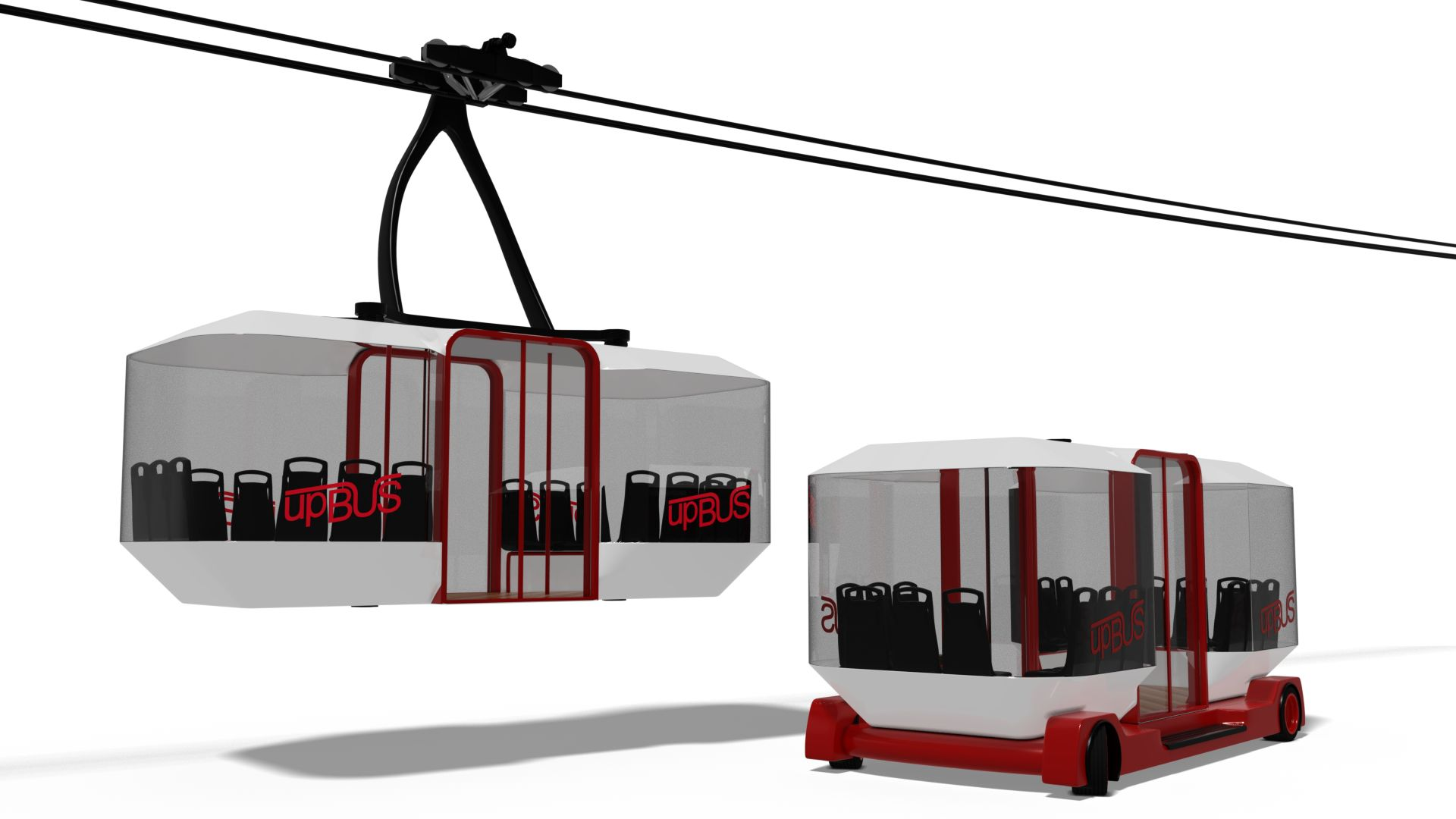 Upbus: Ein E-Bus, der fährt und schwebt - Die Kopplung erfolgt mit Hilfe von Satellitentechnik. (Bild: RWTH)