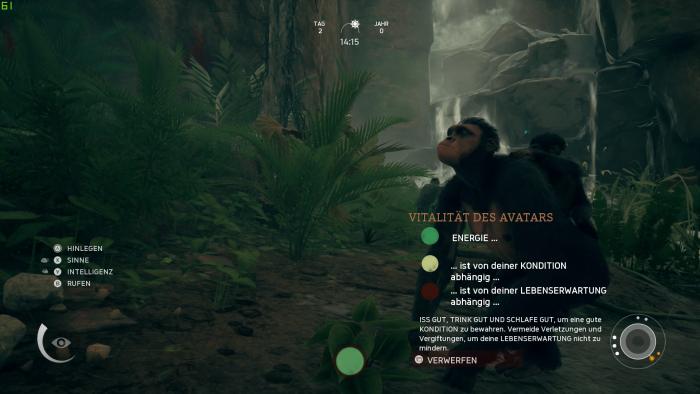 Anhand des Punktes in der Bildschirmmitte haben wir eine Ahnung vom Zustand der jeweiligen Hauptfigur. (Bild: Panache Digital Games / Screenshot: Golem.de)