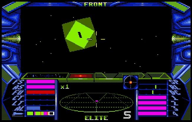 Elite war ein Dauerbrenner, nicht zuletzt dank der Umsetzungen für 16-Bit-Heimcomputer. Auf dem Amiga weichen die Drahtgittermodelle bunten, vollständig ausgefüllten Polygonen. (Bild: Firebird / Screenshot: Golem.de, Amiga)