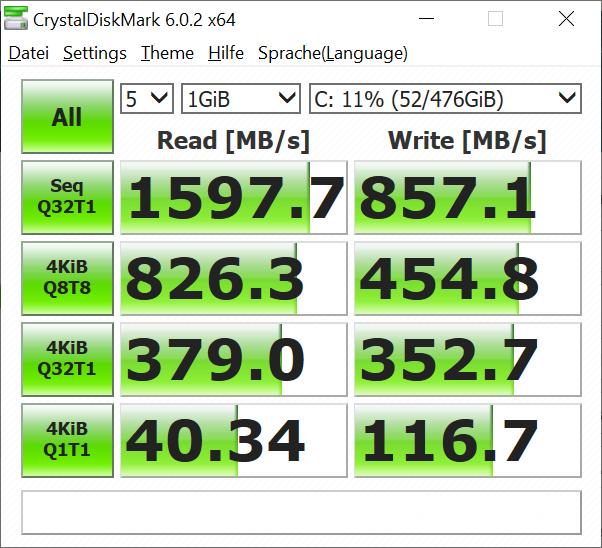 Lenovo Thinkbook 13s im Test: Ein schickes Ultrabook muss nicht teuer sein - Die SSD von SK Hynix ist ausreichend schnell. (Bild: Oliver Nickel/Golem.de)