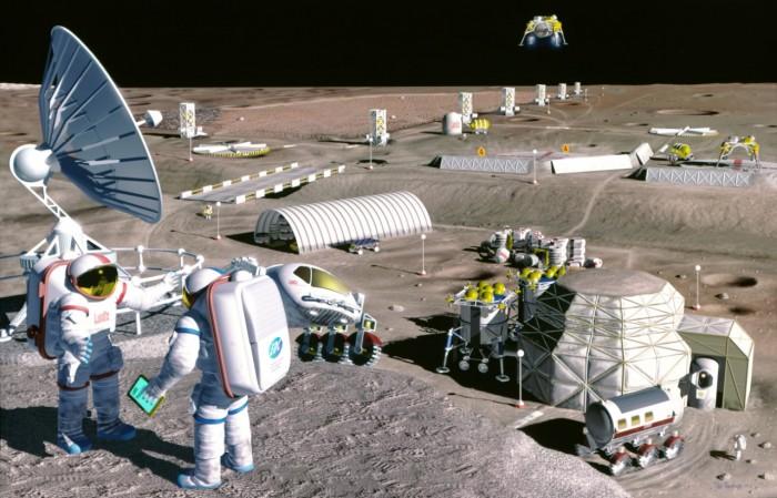 Das Nasa-Konzept einer Mondstation von 1996. Das größte Manko dieses Konzepts ist, dass sämtliche Baumaterialien bei hohen Transportkosten von der Erde zum Mond transportiert werden müssten. (Illustration: Nasa)