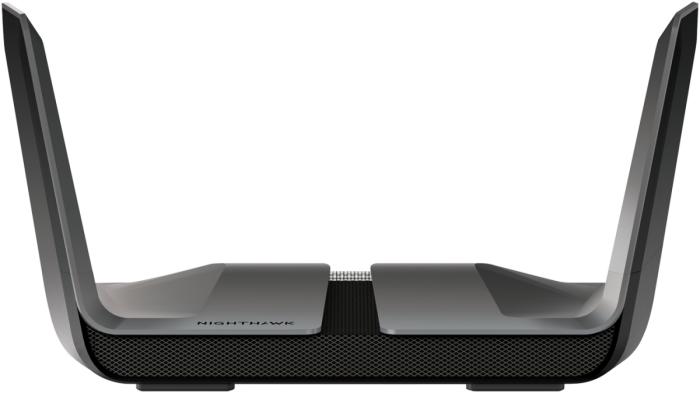 Im Netgear RAX80 Wi-Fi-6-Router sind vier Antennen in den Seitenflügeln versteckt. Im optisch ähnlichen RAX120 (nicht im Bild) stecken sogar acht unsichtbare Antennen. (Bild: Netgear)