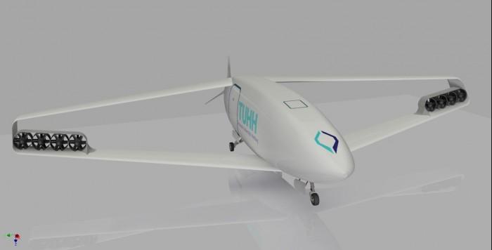 Der Box Wing aus Hamburg besticht durch kompakte Bauweise und gute aerodynamische Leistungen. (Bild: TU Hamburg-Harburg)
