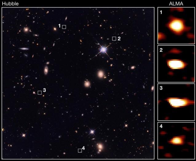 Die Galaxien sind für Alma sichtbar (r). Für Hubble sind sie nicht im sichtbaren Licht. (Bild: Wang et al.)