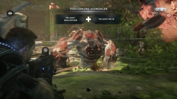 In einigen der Bosskämpfen können wir Verstärkung anfordern. (Bild: Microsoft/Screenshot: Golem.de)