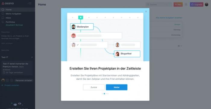 Projektplan erstellen in Asana (Screenshot: Golem.de)